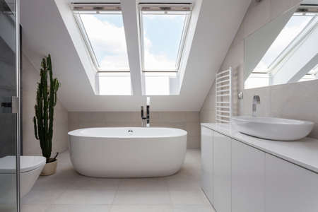 domestic: Porcelain freestanding bath in designed white bathroom