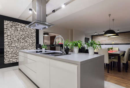 Picture of designed kitchen with stone wall Stockfoto
