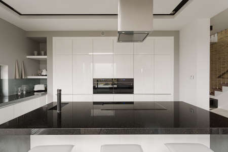 Picture of black and white kitchen interior