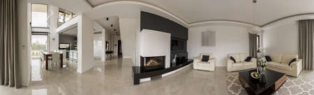 a detached living room: Panorama of residence interior with the luxury design Stock Photo