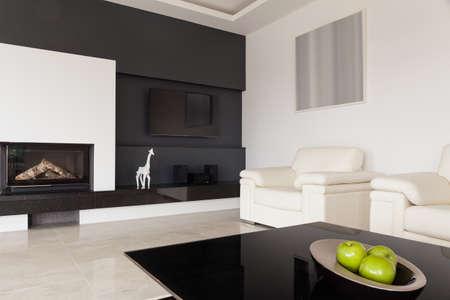 modern living: Modern black and white living room design Stock Photo
