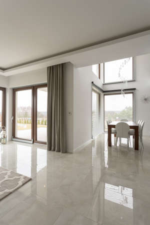 gleaming: Bright contemporary interior with gleaming beige tiles