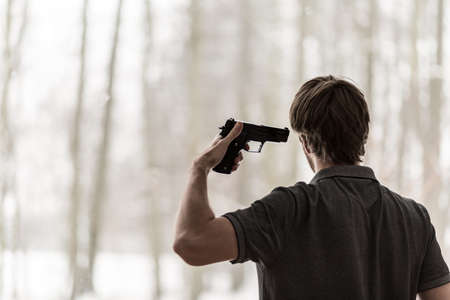 wicked problem: Man trying to shoot himself at home