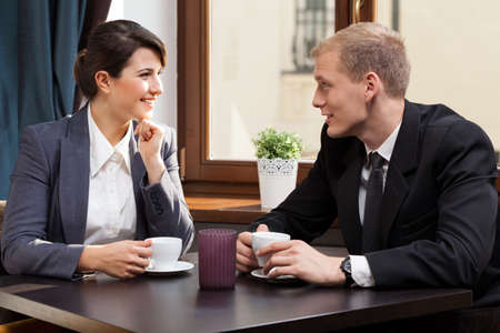 break: View of business partners during coffee break Stock Photo