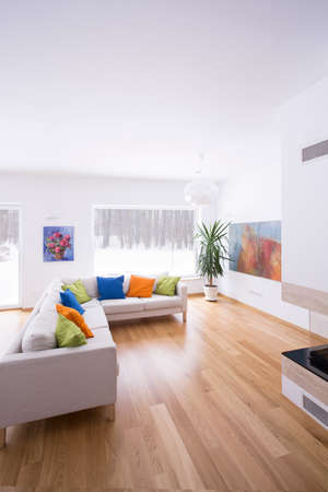 wood floor: Cream corner sofa in modern sitting room Stock Photo