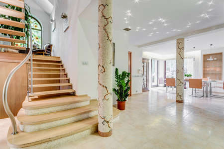 Horizontal view of stairway in luxury residence