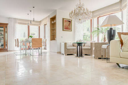 floor tiles: Interior of elegant exclusive villa - horizontal view