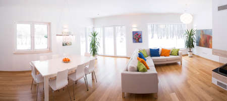 interior drawing: Panorama of light interior with color decors