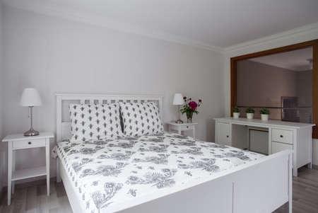 flower bed: Luxury elegant bedroom interior in pastel colors