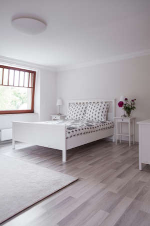 flooring: Bright flooring panels in modern luxury bedroom