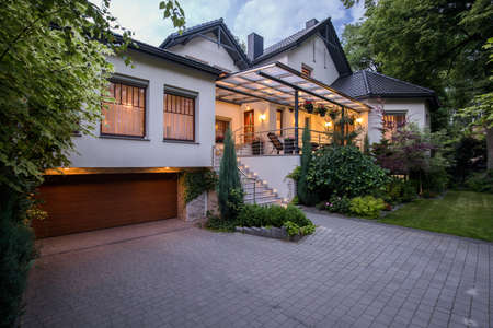 residential home: Exterior of luxury residence with cozy terrace Stock Photo