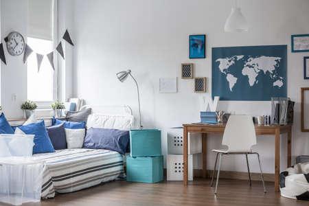Horizontal view of designed teenage boy room