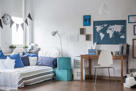 Horizontal view of designed teenage boy room