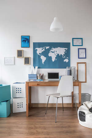 Study Desk: World map on the wall in teen room