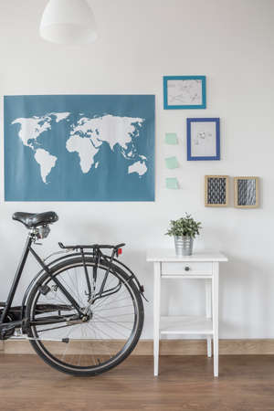 bedroom wall: Close-up of bike in modern stylish room