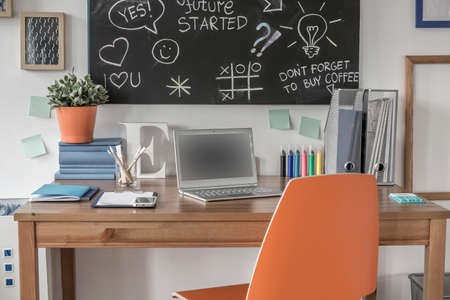 Creative study space in modern teen room Stock Photo