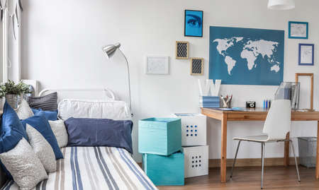 boy room: Interior of designed room for male teenager Stock Photo