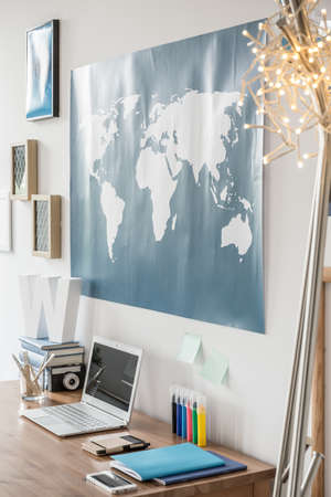 worldmap: Workspace with world map above the desk