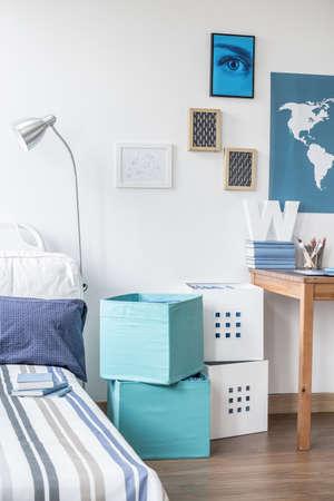 teen bedroom: Picture of teenage boy modern bedroom design Stock Photo