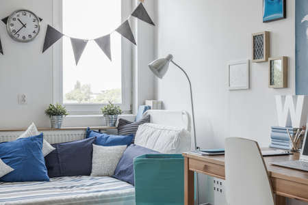 room decoration: Interior of white and blue teen room