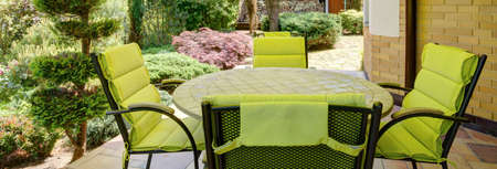 verandah: Panorama of stylish verandah with garden furniture