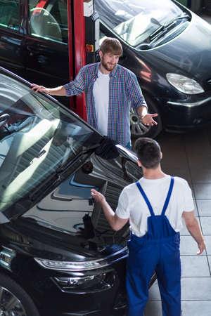 auto repair: Motor vehicle service in auto repair shop Stock Photo