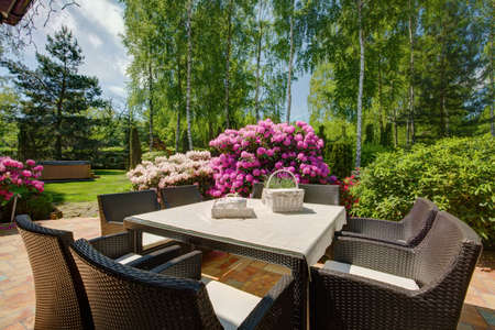 mimbre: Muebles de patio con estilo en el hermoso jardín Foto de archivo