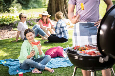 frankfurters: Horizontal view of barbecue in the park Stock Photo