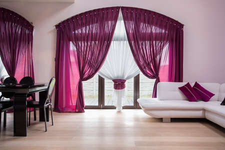モダンなインテリアのバラのカーテンと窓
