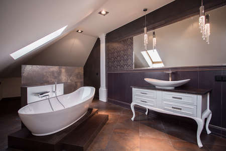 Brown Toilets Stylish Brown Bathroom In Luxury Modern House Stock Photo
