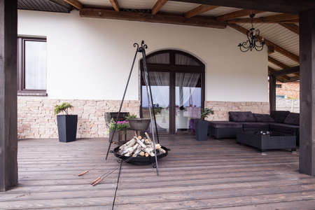 outdoor fireplace: Picture of modern stylish patio with fireplace Stock Photo