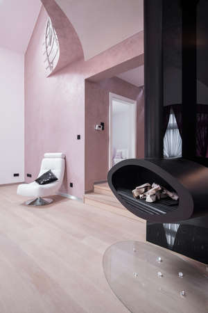 modern living: Close-up of modern fireplace in living room