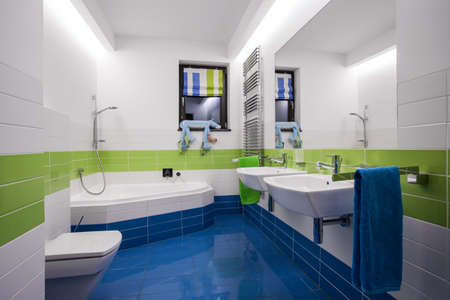 bathroom design: Horizontal view of modern colorful bathroom interior