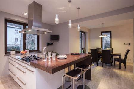 Close-up of wooden worktop in luxury kitchen