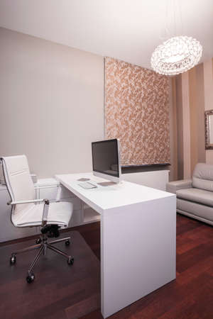 empty office: Vertical view of modern workspace at home Stock Photo