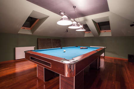 recreation room: Close-up of billiard table in luxury house