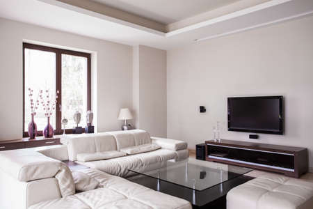 White designed living room in modern house