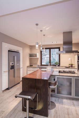 Vertical view of luxury modern kitchen design