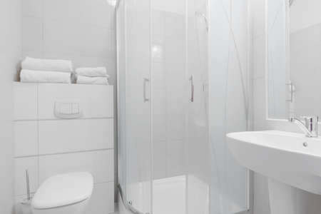 shower cubicle: White pure toilet interior in modern hotel Stock Photo