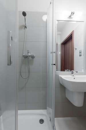 shower cubicle: Picture of toilet interior with shower cubicle Stock Photo