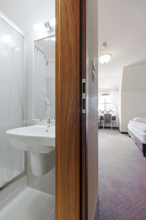 handbasin: Interior of hotel room with private toilet Stock Photo