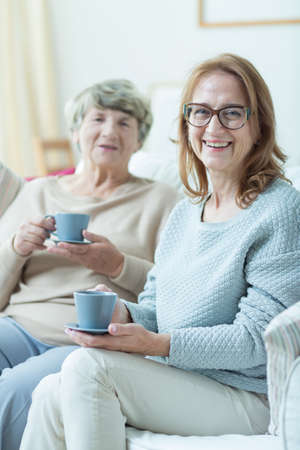 senility: Photo of two content smiling mature friends