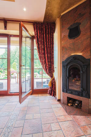 the residence: Close-up of fireplace in exclusive designed residence