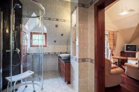room door: Bathroom and living room separated by door Stock Photo
