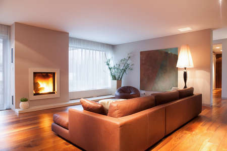 interior lighting: Close-up of burning fireplace in living room Stock Photo