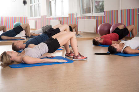 View of workout on a foam mattress Stock Photo