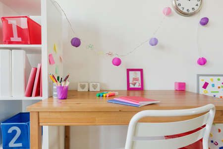 Study Desk: Photo of cozy modern children place for study
