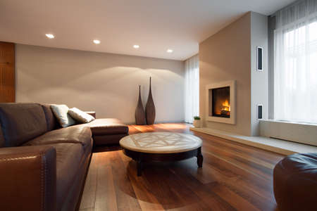 Leather comfortable sofa in luxury living room 스톡 콘텐츠