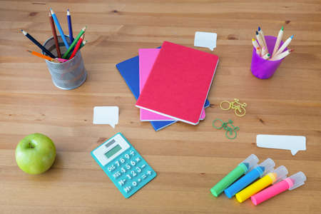 organized: Well organized things for study on wooden desk