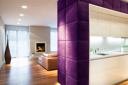 bulkhead: Horizontal view of interior in modern style Stock Photo
